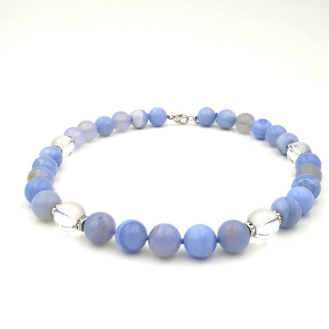 Blue Gemstone and Quartz Necklace - 18 inch