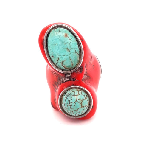 """The Red Rider"" Large Ethical Coral And Turquoise Sterling Ring - Size 6.5"
