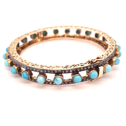 """Bohemian Fatale"" -Turquoise and Diamond Bracelet"