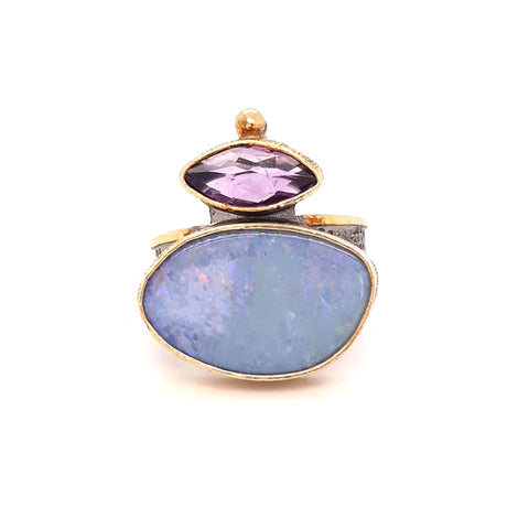Opal and Amethyst Ring - Size 7.5