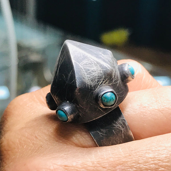 Modern Turquoise and Sterling Ring - Adjustable