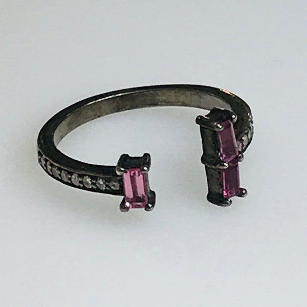 Pink Tourmaline and Diamond Ring - Size 7