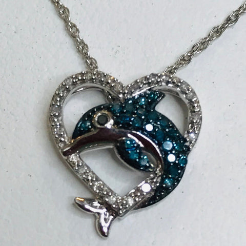 Dolphin and Heart Diamond Pendant Necklace