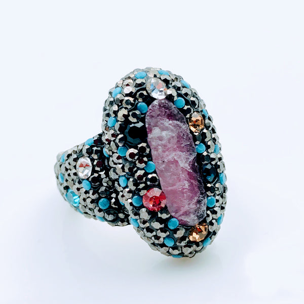 Multi Colored Multi Gemstone Sterling Silver Ring - Size 7.5