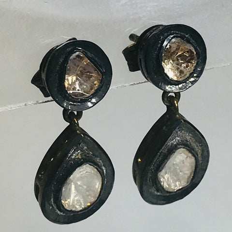Diamond Slice Post Drop Sterling 925 Earrings