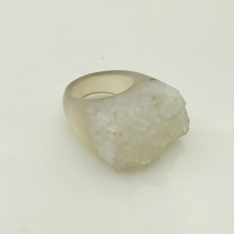 Carved Druzy Ring - Size 7
