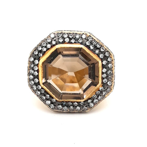 Smokey Quartz with Diamond Halo Ring - Size 6.5