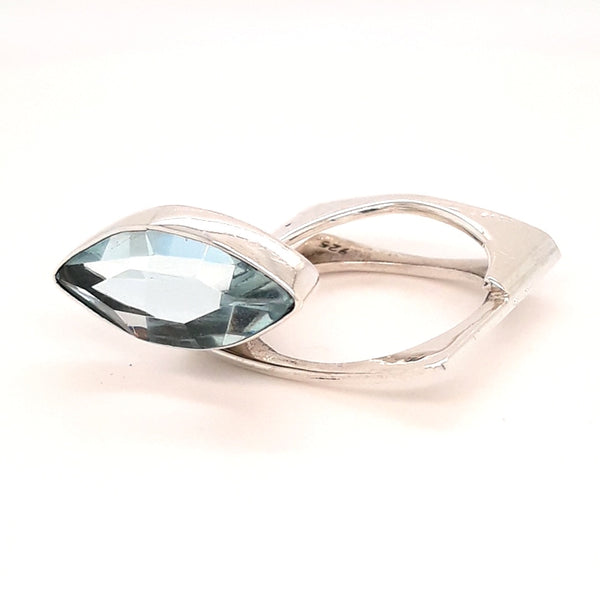 """Simply Striking #1"" - Swiss Blue Topaz Sterling Ring - Size 8"
