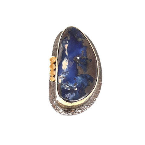 """This Boulder Opal is Bad-Ass!"" - Boulder Opal Sterling And 18k Gold Ring - Size 6.5"