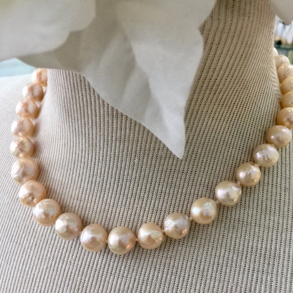 'Cream of the Crop' 14kt Gold Off White Pearl Necklace -16 in