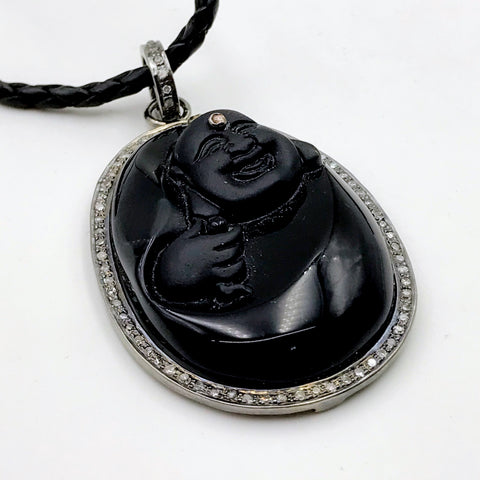 Hand Carved Black Onyx Buddha with Diamond Halo and Gemstone Accent Pendant