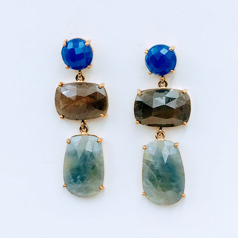 Lapis and Sapphire Gold Post Drop Earrings
