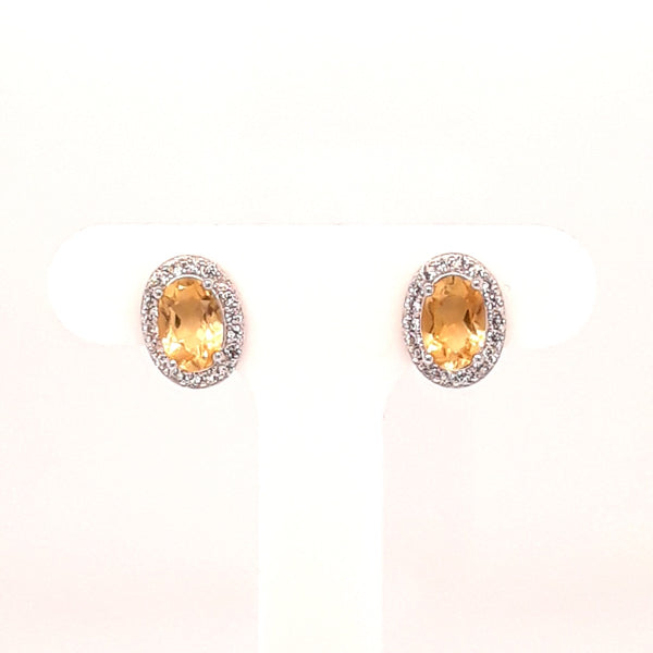 Citrine Sterling Stud Earrings