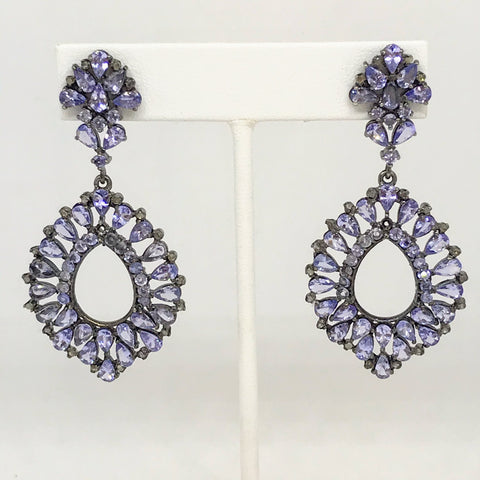 Tanzanite and Diamond Sterling Statement Post Drop Earrings