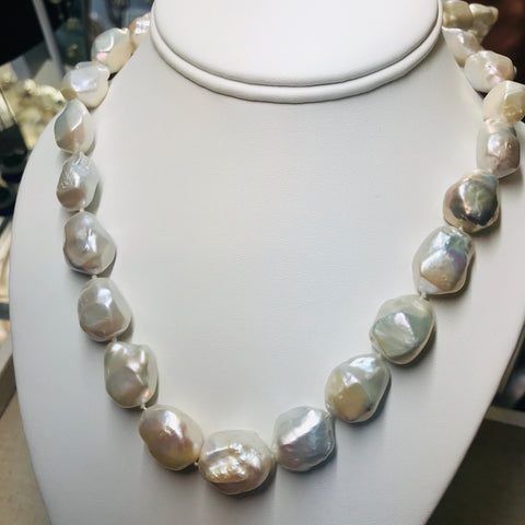 """From A Different Angle"" - Angular White Baroque Pearl Strand Necklace, 17 inch"