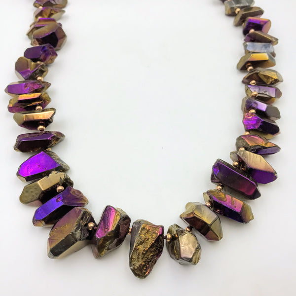 Titanium Plated Purple Agate Necklace - 40 inch