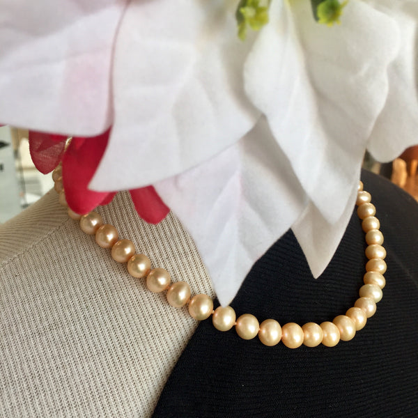 ' Every Petal is Perfect' Orange'ish Pearl Necklace 17in- with 14kt Gold Safety Clasp