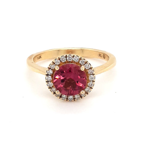 """Riuniti On Ice!"" - Rubellite and Diamond 14K Yellow Gold Ring - Size 7"