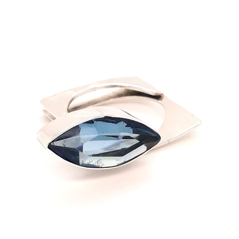 """Simply Striking #2"" - London Blue Topaz Sterling Ring - Size 8"