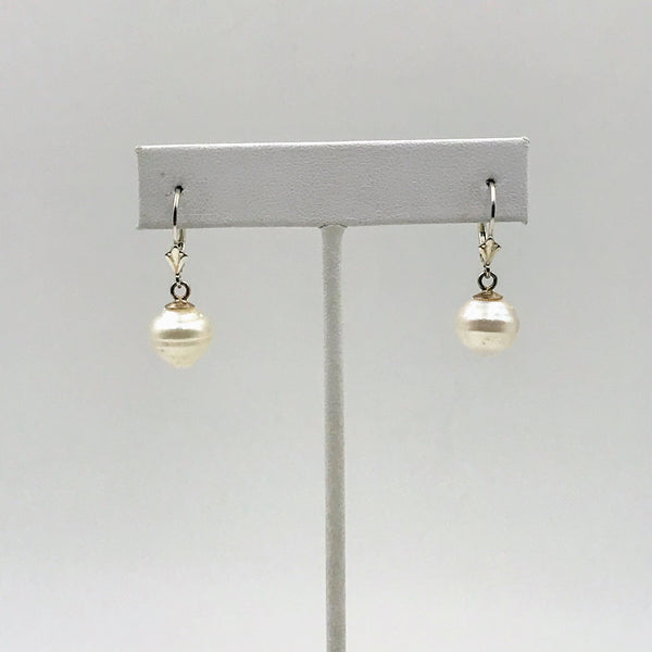 """Icing on the Cake"" -11mm White South Sea Sterling Lever Back Earrings"