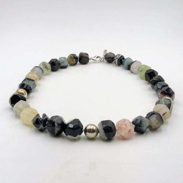Faceted Agate Sterling Silver Necklace - 18 inch