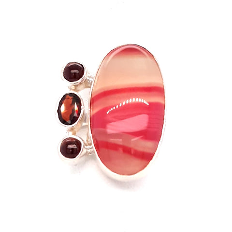 Pink Agate and Garnet Sterling Ring - Adjustable