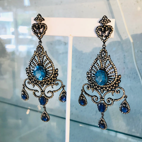 Blue Sapphire and Diamond Post Drop Earrings