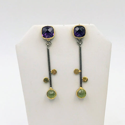 Petal & Blossom Pop Earrings - Amethyst and Peridot Post Drop Sterling Earrings
