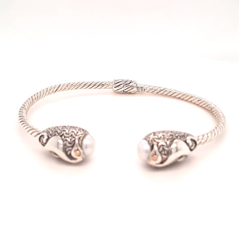 Seahorse and Grey Pearl Sterling Hinged Cuff Bracelet