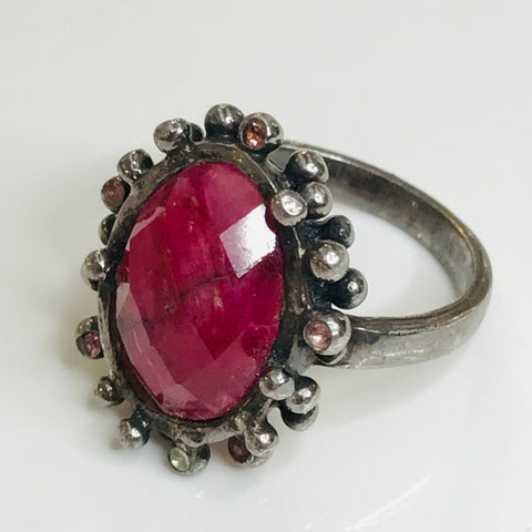 Ruby Sterling Ring - Size 6.5