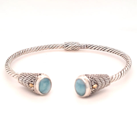 """Isle of Magic"" - Larimar Sterling Hinged Cuff Bracelet"