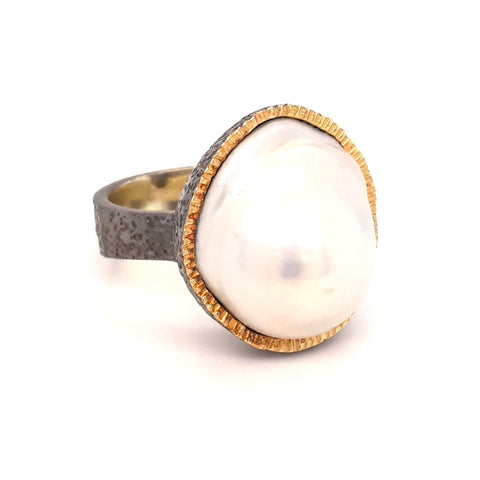 White Baroque Pearl Sterling Silver Ring - Size 8.5