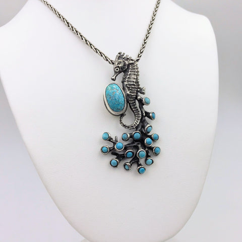 Seahorse and Turquoise Sterling Statement Pendant Necklace - 18 inch