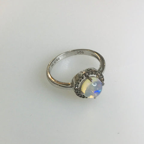 Opal and Gemstone Halo Sterling 925 Ring - Size 8