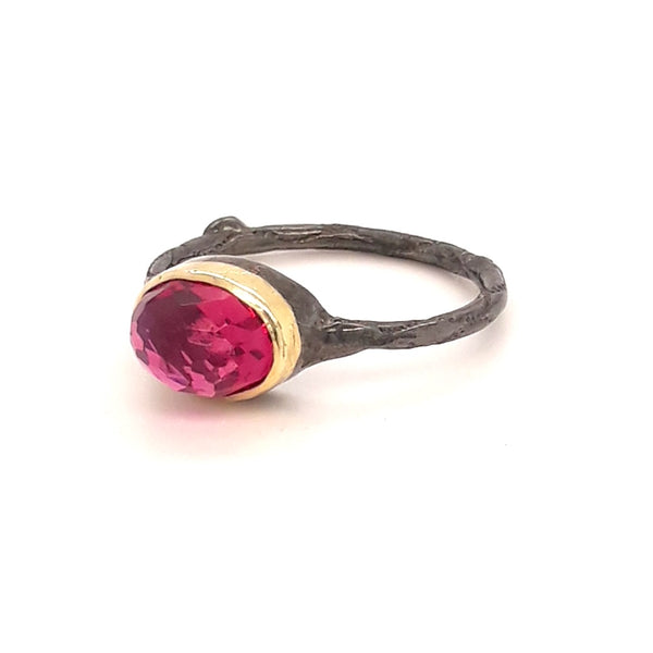 Tourmaline Sterling Stacker Ring - Size 5.5