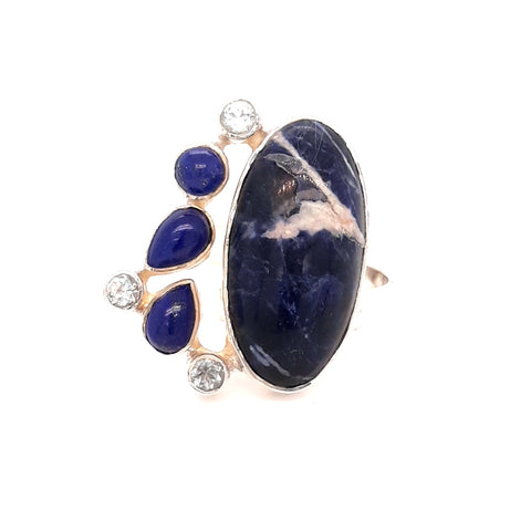 """Denim Wave"" -Lapis and Topaz Sterling Ring - Adjustable"