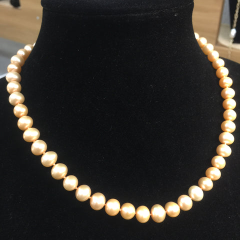 17in Burnt Orange Pearl Necklace - 14kt Gold