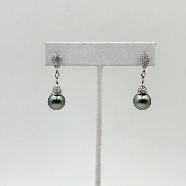 Tahitian Pearl and Gemstone Sterling Post Drop Earrings
