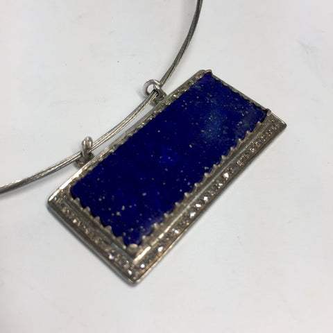 Lapis and Diamond Halo'd Bar Pendant