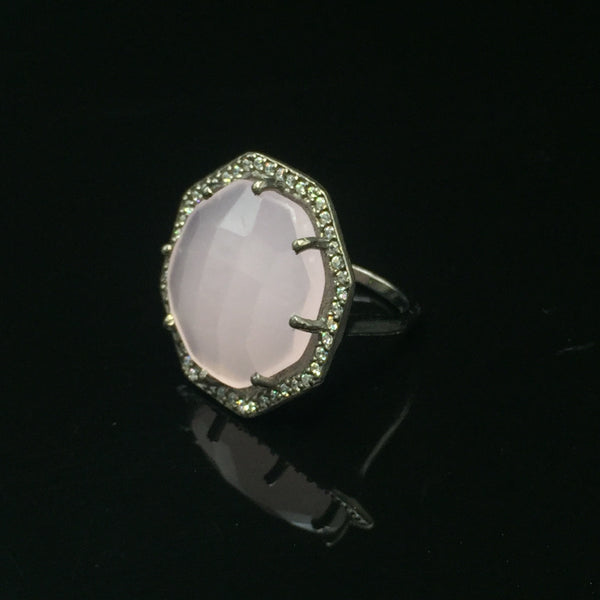 Rose Quartz Ring with Stone Halo - Size 7.5