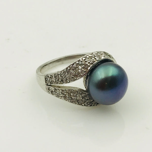 """Pearl Drop"" - Peacock Pearl Sterling Ring - Size 6"