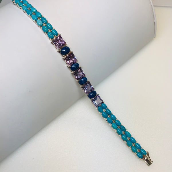 """Beauty Sleep"" - Sleeping Beauty Turquoise, Amethyst and Lapis Sterling 925 Tennis Bracelet"