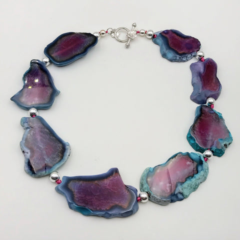 Purple and Blue Agate Slab Sterling Silver Necklace - 20 inch