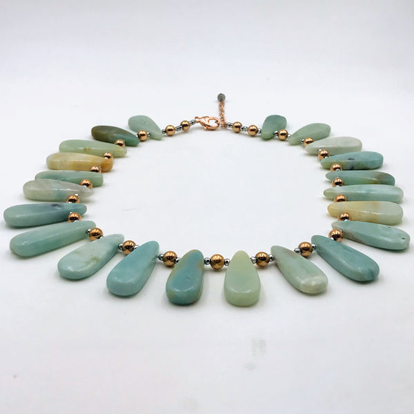 Amazonite Rose Gold Necklace - 19 inch