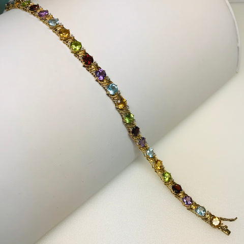"""Candy Kisses"" - Multi Color Multi Gem Gold Tennis Bracelet"