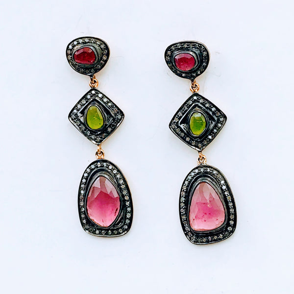 Ruby, Diamond and Green Gemstone Gold Post Dangle Earrings