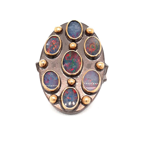 """Ring of Fire"" - Near Black, Red Fire Opal Sterling Ring - Size 7"