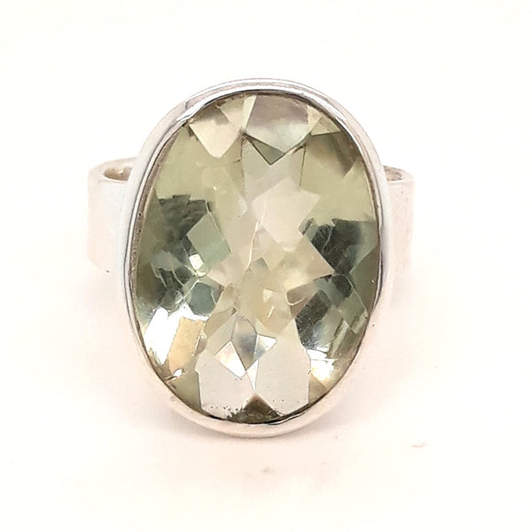 Green Amethyst Sterling Ring - Size 7