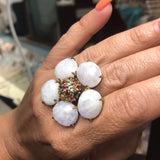 Moonstone and Gemstone Statement Ring - Size 8