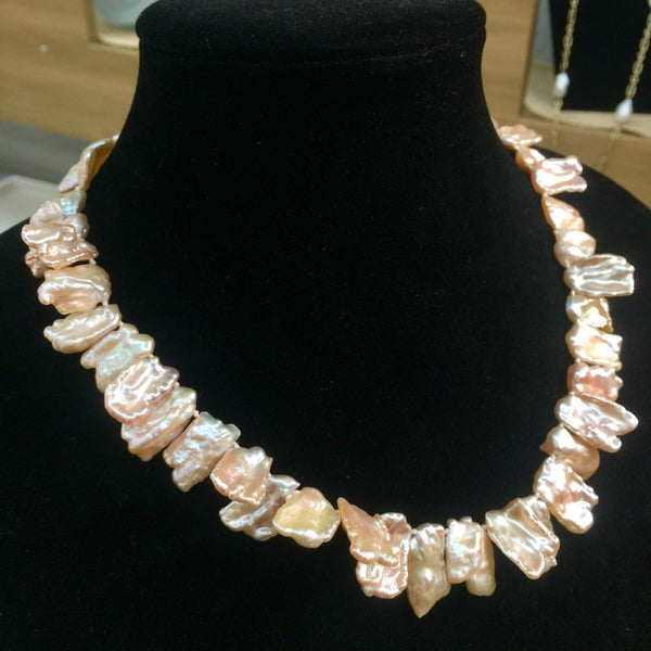 """Peachy Pickle Stix"" - 18in Pale Peach Baroque Stick Pearl Necklace 14kt Gold Clasp"